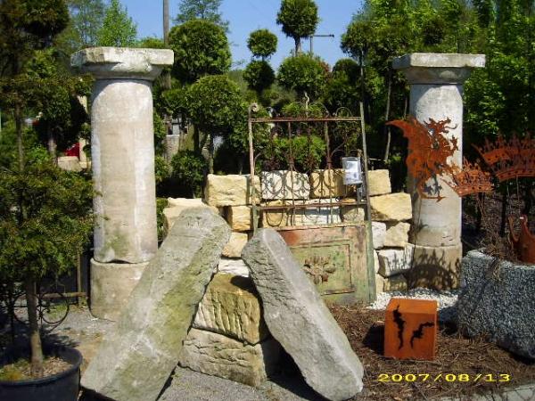 antikes Paar Sandsteinsäulen